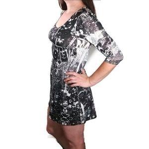 Vintage Girl Stretchy 3/4 sleeve rhinestone dress